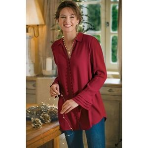 NWT Soft Surroundings Red Poet Button Blouse Top M